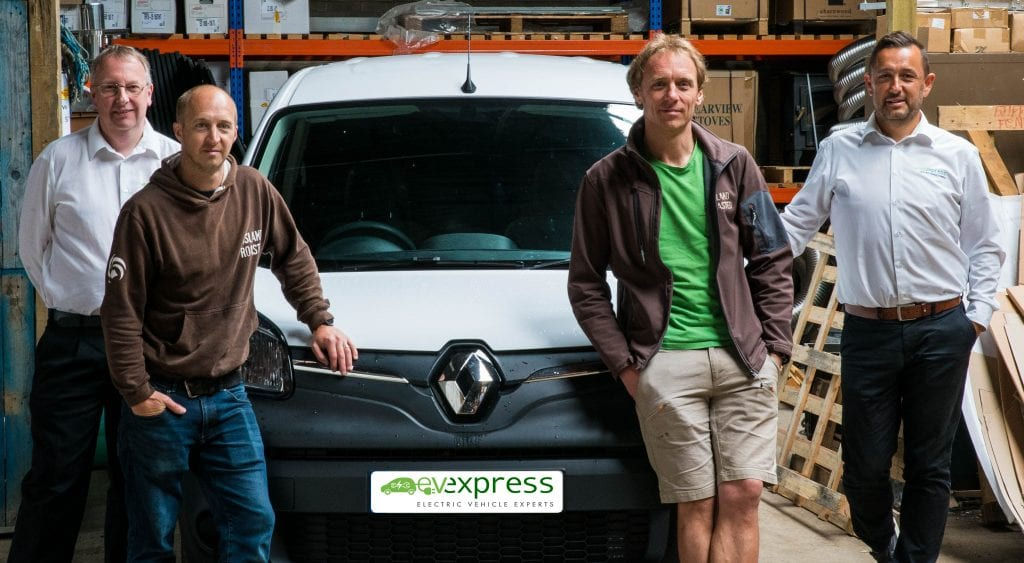 EV Express team delivering our first van to Island Roasted on Isle of Wight