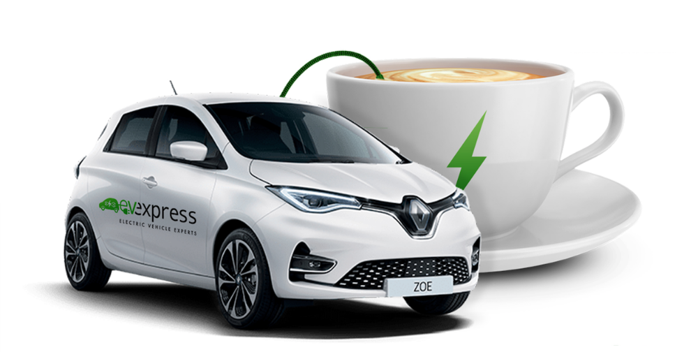 ev express cafe - picture of a car next to a coffee