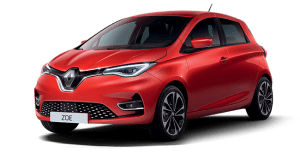 renault zoe electric car in red